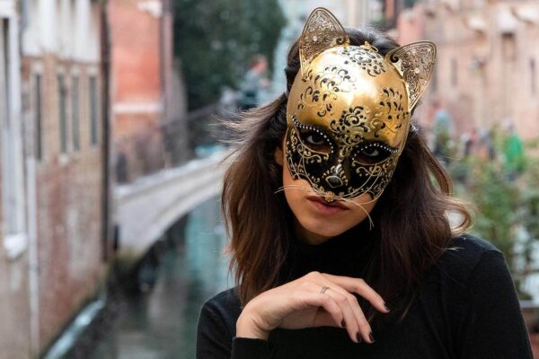 Cat Mask - Girl in Venice with a mask - Venetian Masks for sale