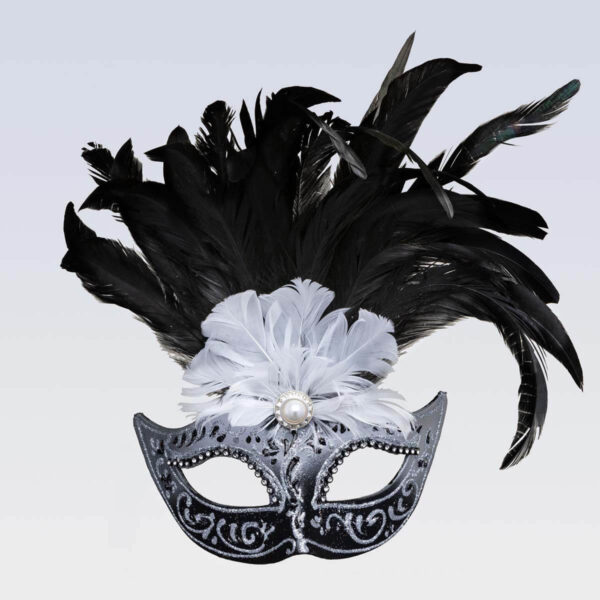 Colombina Feathered Silver - Venetian Mask