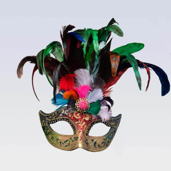 Colombina Feathered Multicolor - Venetian Mask