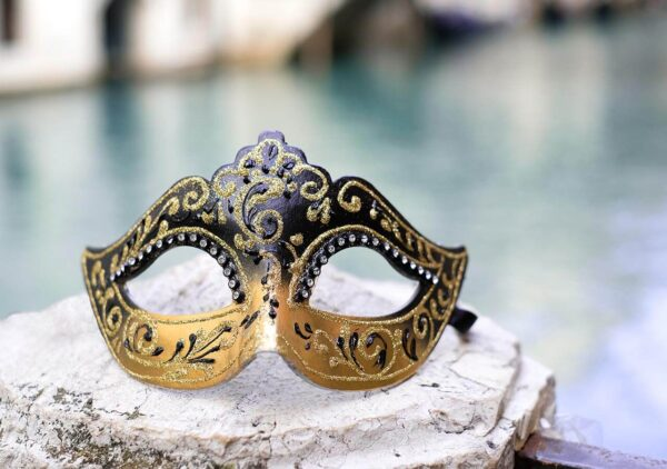 Colombina Mask - Black and Gold Mask - Venetian masks Made in Venice