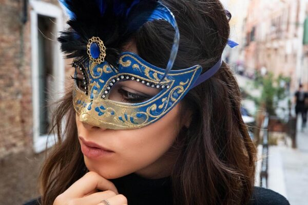 Colombina Mask Blue with Feather - Venetian Masks Made in Italy
