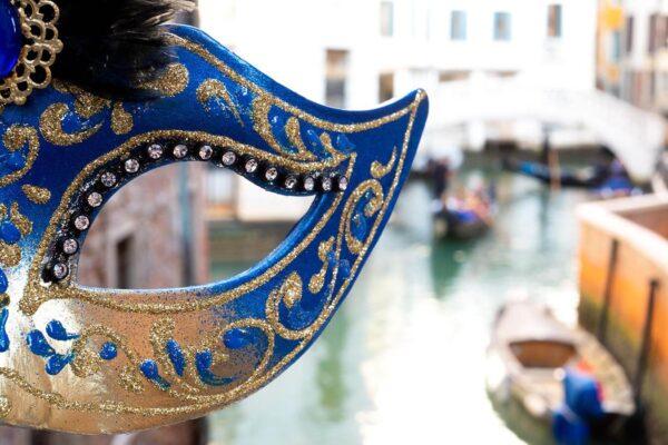 Colombina Mask and a Gondola - Venetian Masks handmade in Venice