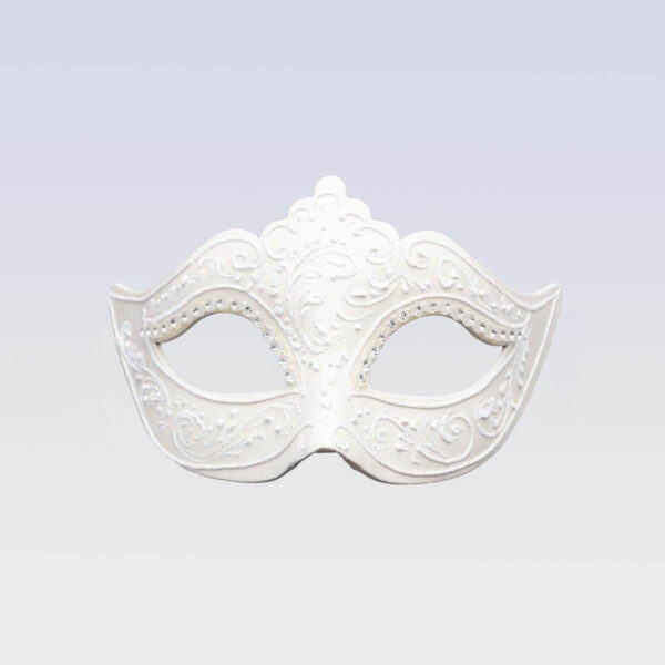 Colombina Mask - Total White Color - Venetian Mask