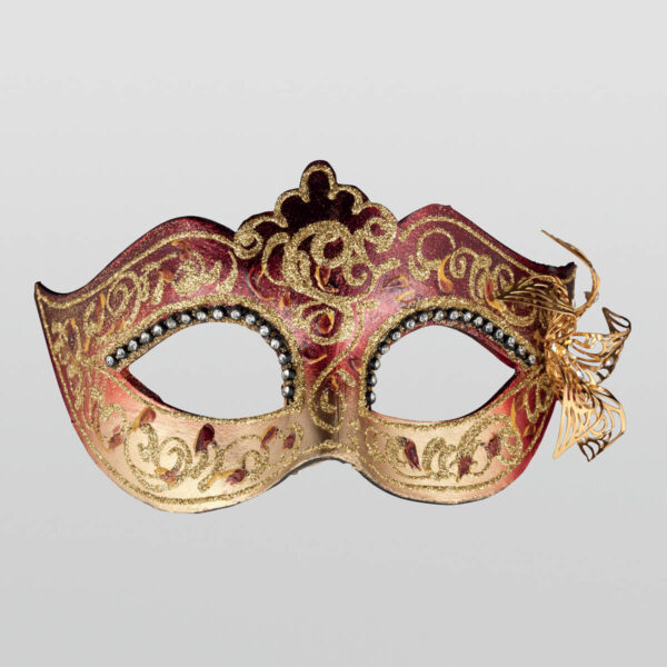 Colombina Mask - Red Color - Papier Mache Flower Metal Strass - Venetian Mask