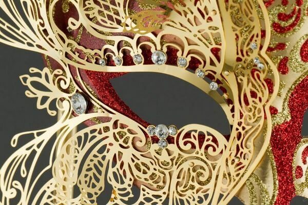 Colombina with half Butterfly and Stick - Red Color - Detail 1 - Venetian Mask