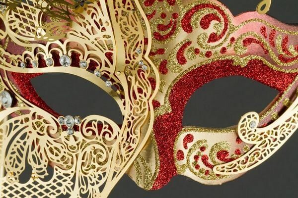 Colombina with half Butterfly and Stick - Red Color - Detail 2 - Venetian Mask