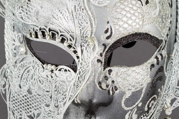 Face with Half Butterfly in Metal and Rhinestone - White Color - Detail 1 - Venetian Mask
