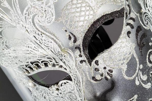 Face with Half Butterfly in Metal and Rhinestone - White Color - Detail 2 - Venetian Mask