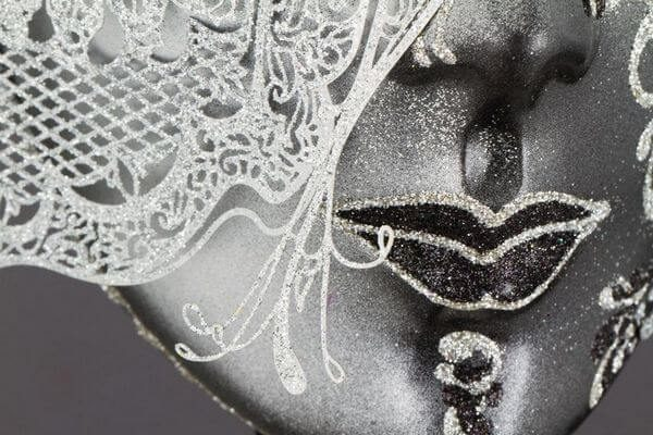 Face with Half Butterfly in Metal and Rhinestone - White Color - Detail 4 - Venetian Mask