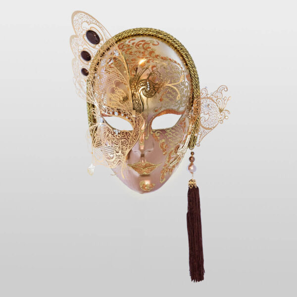 Face with Half Butterfly in Metal and Rhinestone - Bronze Color - Venetian Mask
