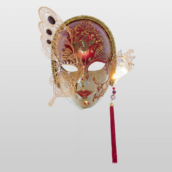 Face with Half Butterfly in Metal and Rhinestone - Red Color - Venetian Mask