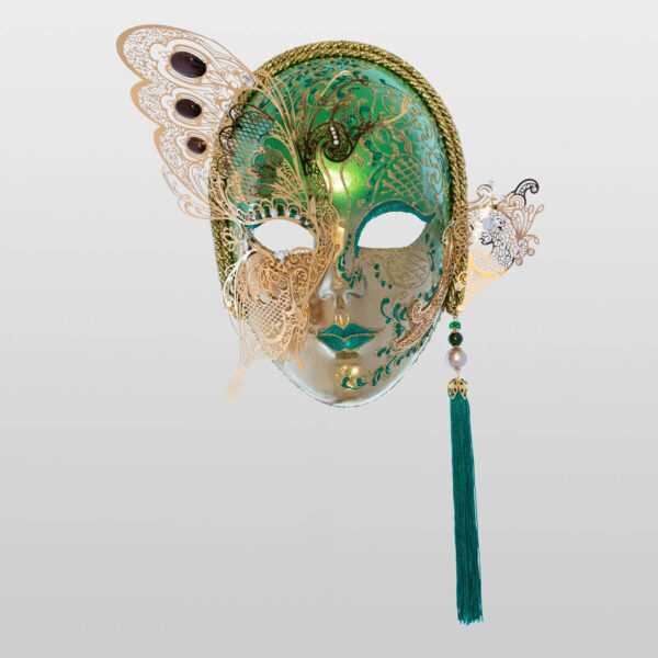 Face with Half Butterfly in Metal and Rhinestone - Green Color - Venetian Mask