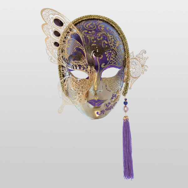 Face with Half Butterfly in Metal and Rhinestone - Violet Color - Venetian Mask