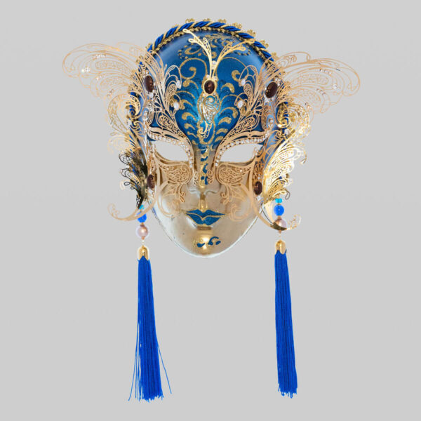 Face with two Wings in Metal and Rhinestone - Blue Color - Venetian Mask