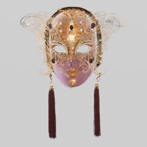 Visage avec deux ailes en métal et strass - Bronze - Masque Vénitien