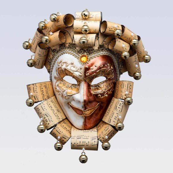 Jolly René Curly in Paper Mache - Music Style - Venetian Mask