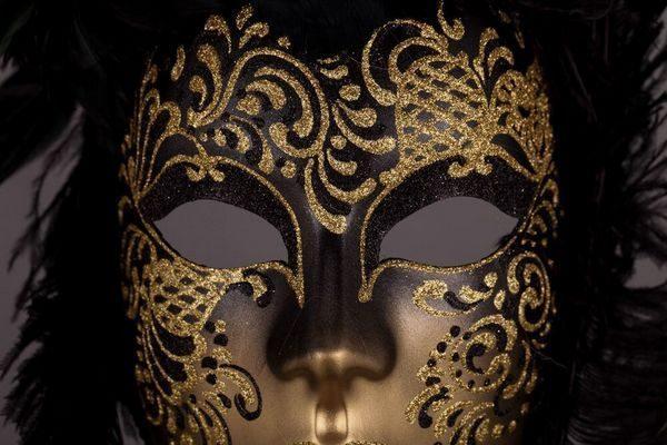 Piuma Sonia - Black Color - Detail 1 - Venetian Mask