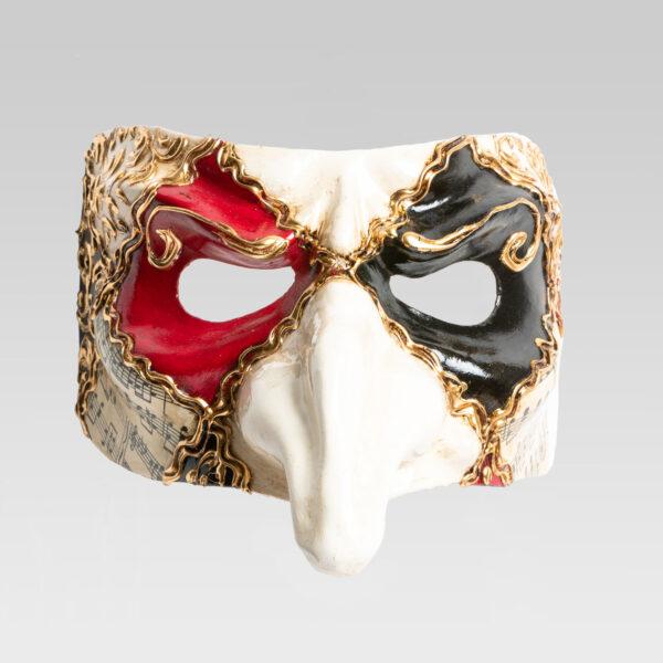 Pulcinella_musica_quadri_rosso_carnival_venetian_mask_handmade_made_in_Italy_LCP051