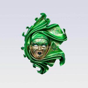 Saamira - Mittel - Grün - Venezianische Maske