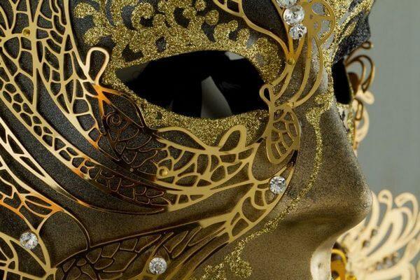 Volto Cigno en métal - Noir - Masque Vénitien - 5