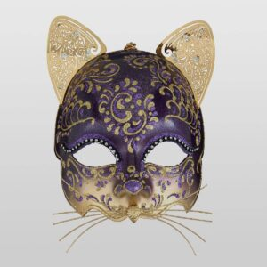 Cat Mask with Metal Ears - Violet Color - Venetian Mask