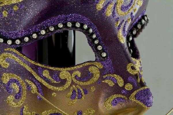 Cat Mask with Metal Ears - Violet Color - Detail 2 - Venetian Mask