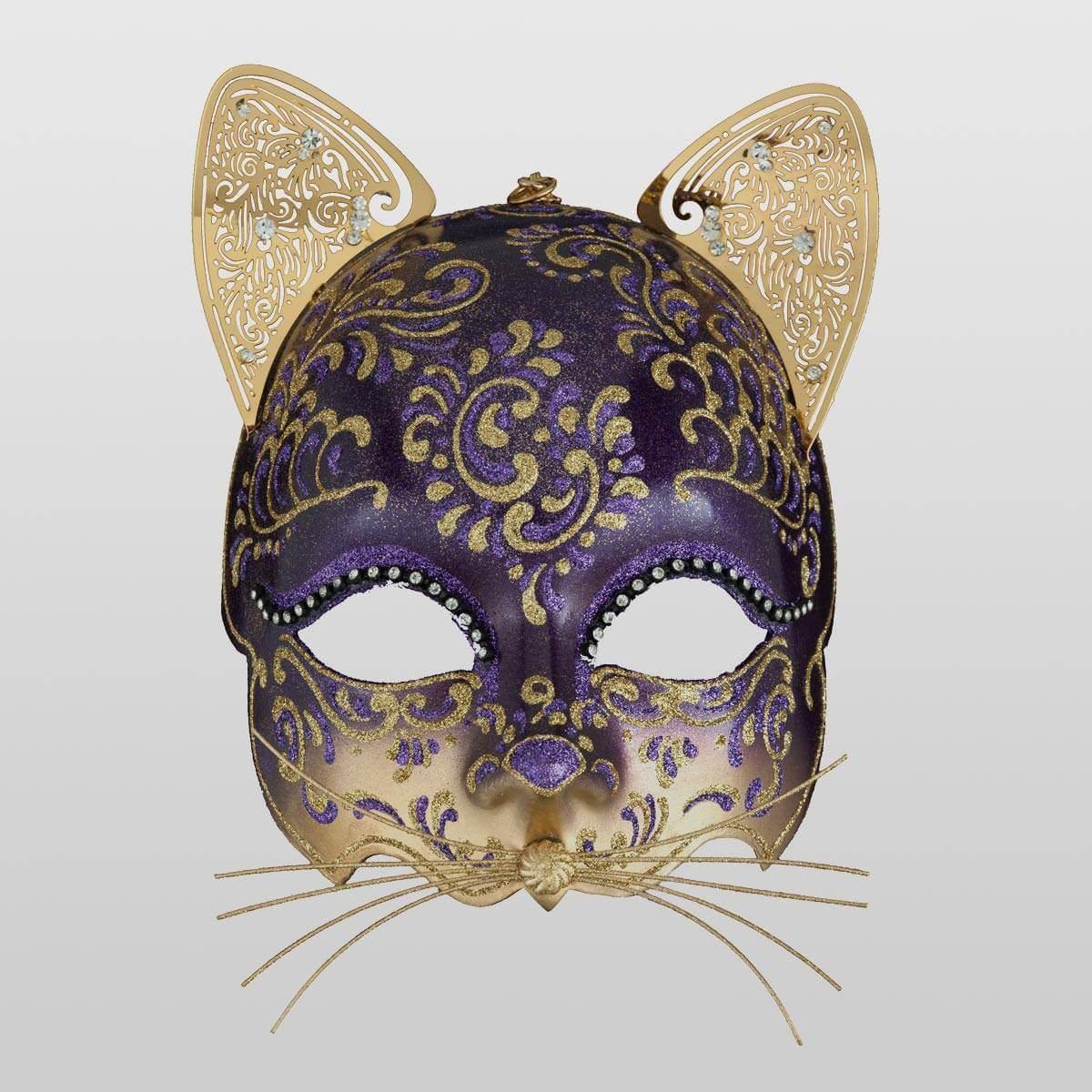 White cat mask Leather masquerade mask cat