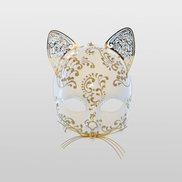Cat Mask with Metal Ears - White Color - Venetian Mask
