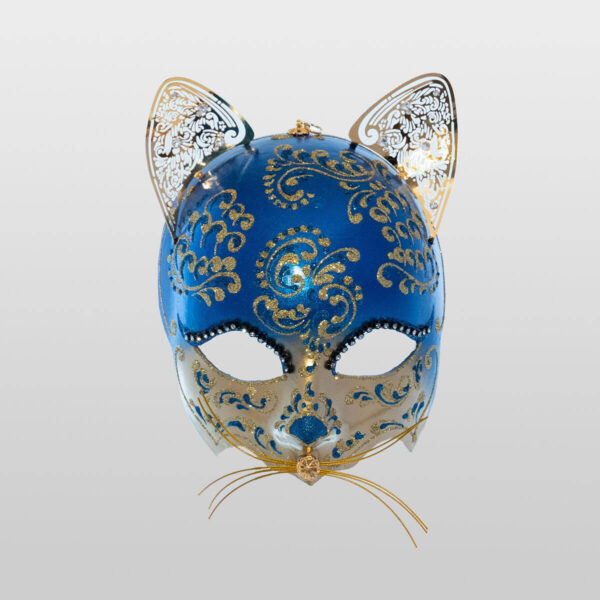 Cat Mask with Metal Ears - Blue Color - Venetian Mask