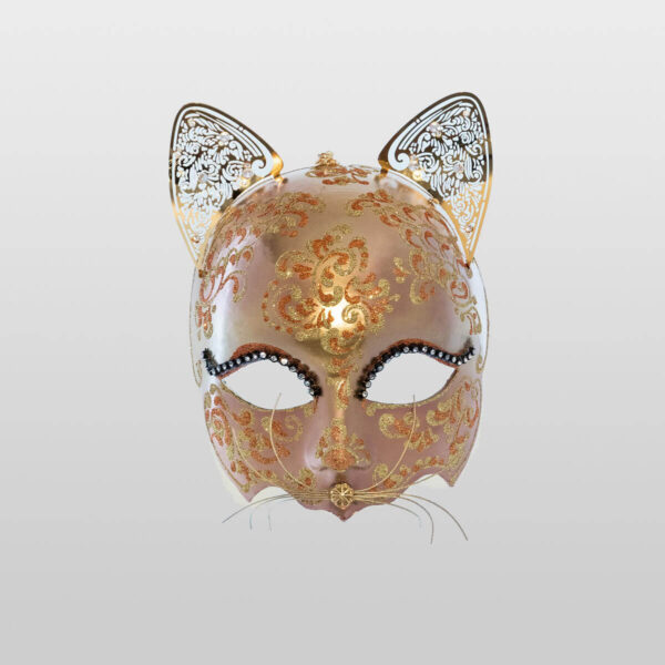 Cat Mask with Metal Ears - Bronze Color - Venetian Mask