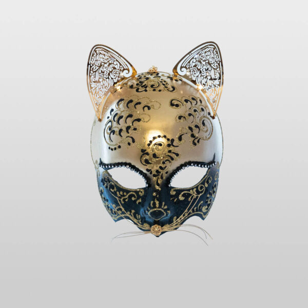 Cat Mask with Metal Ears - Black Color - Venetian Mask