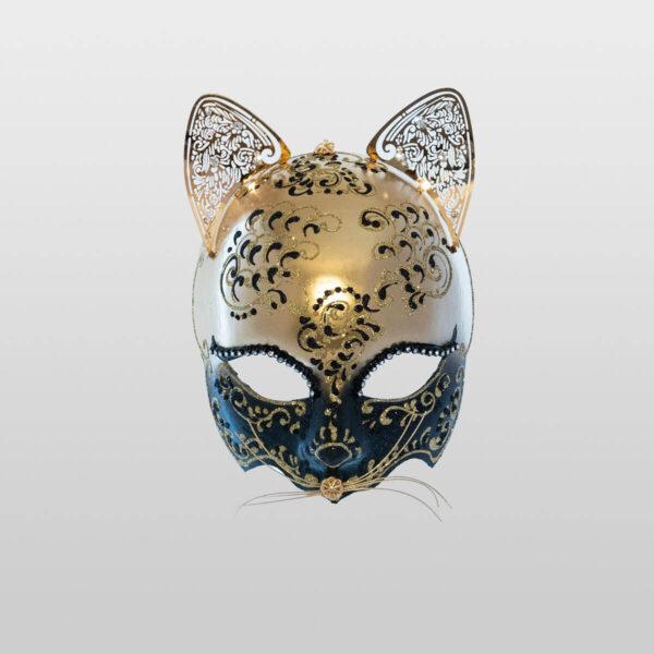 Cat Mask with Metal Ears - Black Color - Venetian Mask