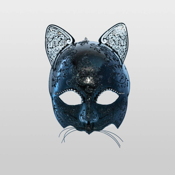 Cat Mask with Metal Ears - Total Black Color - Venetian Mask