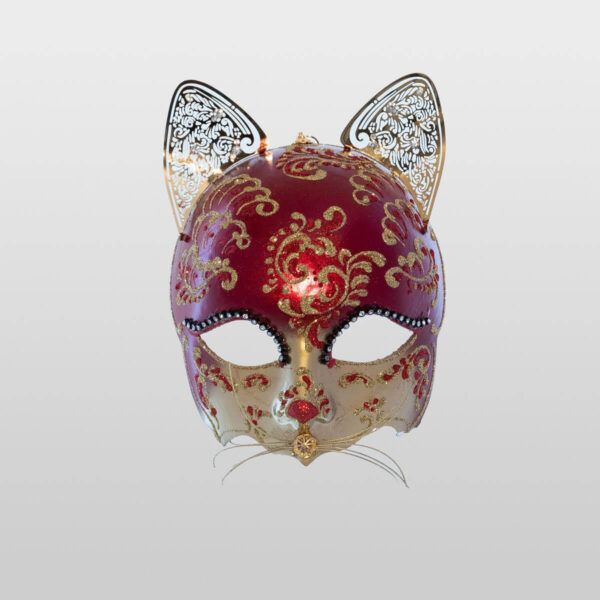 Cat Mask with Metal Ears - Red Color - Venetian Mask