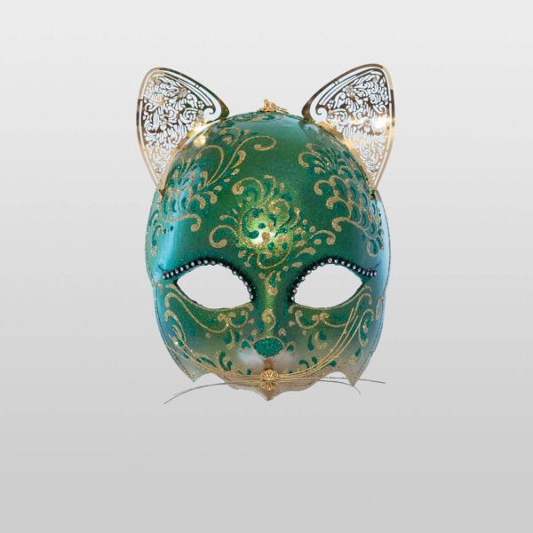 Cat Mask with Metal Ears - Green Color - Venetian Mask