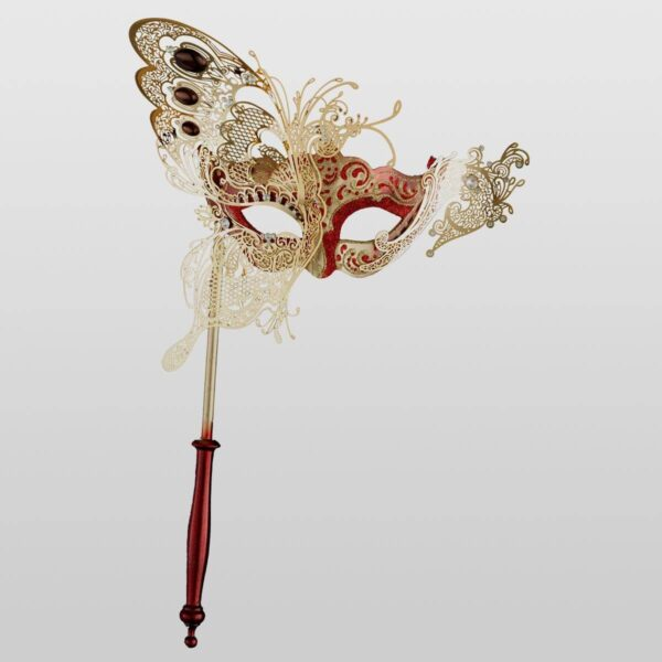 Colombina with half Butterfly and Stick - Red Color - Venetian Mask