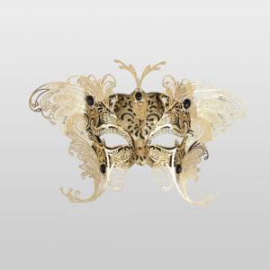 Dominetto - Colombina Maske mit zwei Flügeln aus Metall - Schwarz - Venezianische Maske