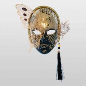 Face with Half Butterfly in Metal and Rhinestone - Black Color - Venetian Mask