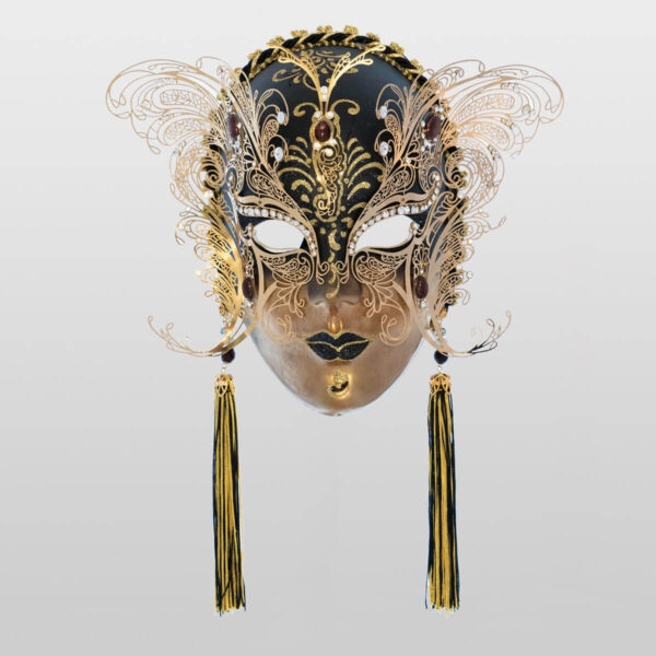 Face with two Wings in Metal and Rhinestone - Black Color - Venetian Mask