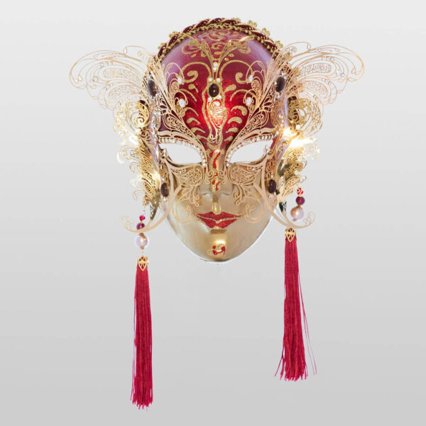 Face with two Wings in Metal and Rhinestone - Red Color - Venetian Mask
