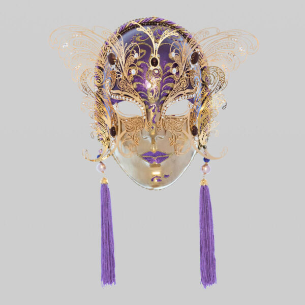 Face with two Wings in Metal and Rhinestone - Violet Color - Venetian Mask