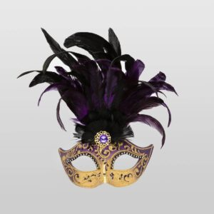 Feathered Colombina - Violet Color - Venetian Mask