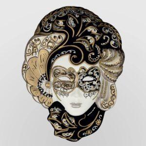Iris - Mediana - Plateada - Máscara veneciana