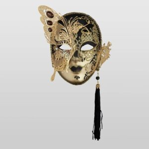 Small Face with Half Butterfly in Metal and Rhinestone - Black Color - Venetian Mask