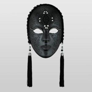 Vedova Colorata Macramé - Total Noir - Masque Vénitien