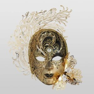 Volto Cigno in Metal - Black Color - Venetian Mask