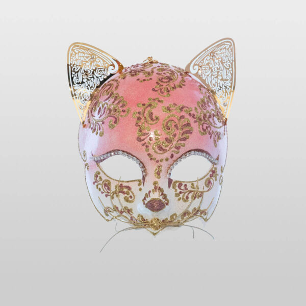 Cat Mask with Metal Ears - Pink Color - Venetian Mask