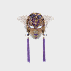 Small Face with two Wings in Metal and Rhinestone - Violet Color - Venetian Mask