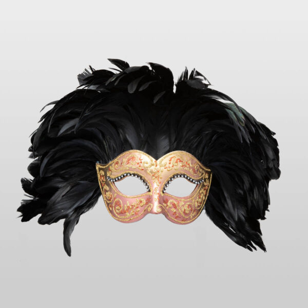 Colombina Fully Feathered - Bronze Color - Venetian Mask