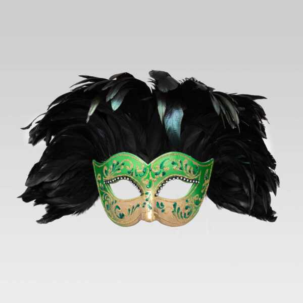Colombina Fully Feathered - Green Color - Venetian Mask